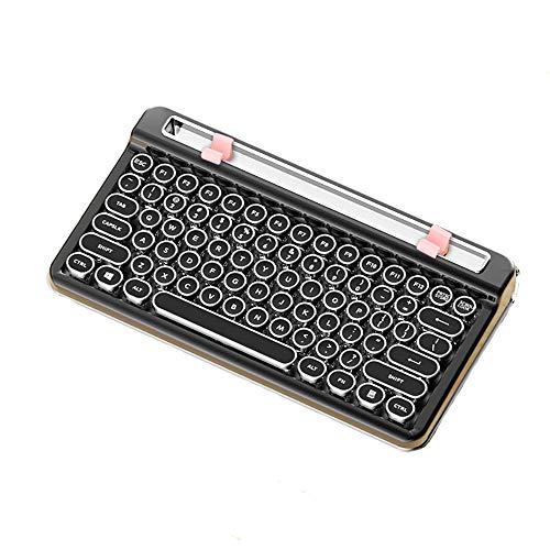 Abrahmliy Mechanisch toetsenbord voor laptop, bluetooth, mechanisch spelletje, retro schrijfmachine-toetsenbord voor pc/Mac/laptop/smartphone/tablet