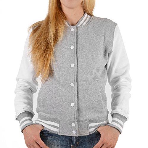College Jacken für Frauen Biker Jacke Drop Dead Gorgeous Rockerbilly Baseball-Jacken Übergangsjacke Damen Jacke Rockabillyjacke Farbe: grau Gr: XL