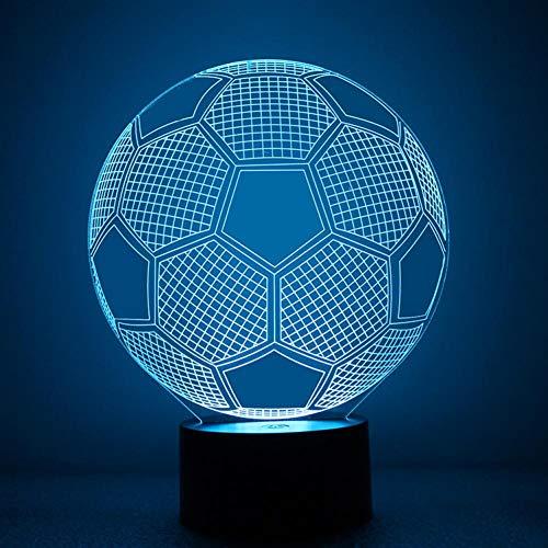Yujzpl 3D-illusielamp Led-nachtlampje, USB-aangedreven 7 kleuren Knipperende aanraakschakelaar Slaapkamer Decoratie Verlichting voor kinderen Kerstcadeau-Amerikaans voetbal