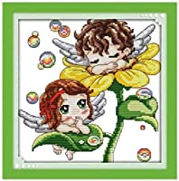 11Ctプリントパターンフラワーエンジェル16X20インチの初心者子供と大人のためのスタンプ生地DIY刺繡キット付きクロスステッチキット
