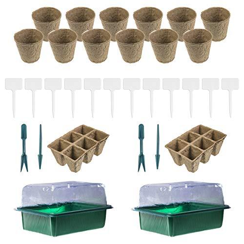 esto24® 2er Set Zimmergewächshaus Gewächshaus Set mit Anzuchttöpfen und 12 Pflanzenschildern Treibhaus Pflanzentöpfe