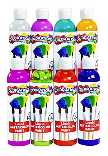 Colorations PLWS Liquid Watercolor Paint, 8 fl oz, Set of 8, Non-Toxic, Painting, Kids, Craft, Hobby, Fun, Water Color, Posters, Cool Effects, Versatile, Gift