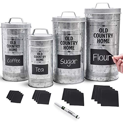 Farmhouse Kitchen Canisters Set by Saratoga Home - Bonus Removable Chalkboard Labels & Marker Included, 4 Airtight Rustic Galvanized Decor Counter Containers for Sugar, Flour, Coffee or Tea Storage