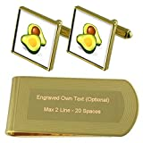 Select Gifts Aguacate Tono Oro Gemelos Money Clip Grabado Set de Regalo