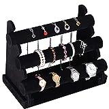 BAKAJI Expositor joyas pulseras collares relojes 3 estantes tubo stand de mostrador tienda vitrina estructura de madera y PVC revestimiento de tela terciopelo negro tamaño 30 x 22,5 x 16,5 cm