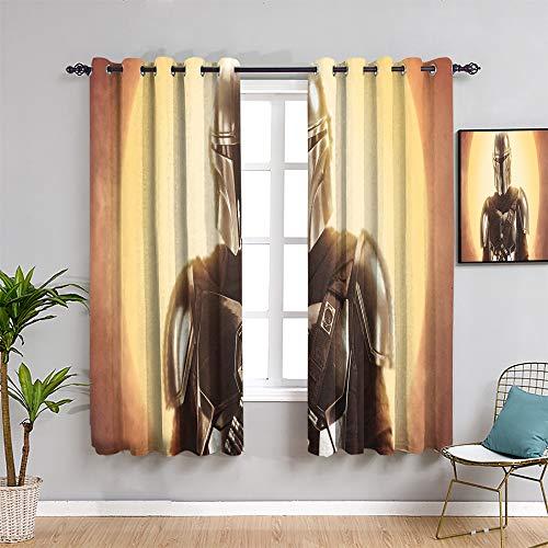 Ficldxc Cortina de Star Wars Farmhouse, cortinas de 160 cm de largo, la habitación mandaloriana 2019 oscurecida como regalo de 137 x 163 cm