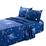 TOTORO Planet Rocket Astronaut Print Twin Sheets Set , 4 Piece with Fitted Sheet Flat Sheet 2 Pillowcases, Premium Microfiber Bed Set, Navy Blue Bedding Set for Kids Boys Girls