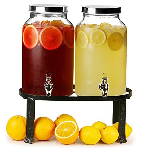 bar@drinkstuff - Dispensador de bebidas doble estilo jarra Mason con soporte, 10 l, para zumos, cócteles, etc
