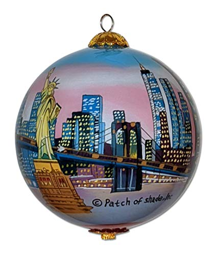 New York City at Sunset Christmas Ornament Hand Painted from Inside with Decorative Gift Box