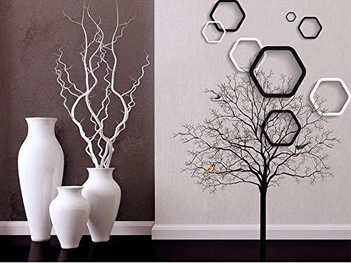 Tapeten Fototapete 3D Effekt Schwarz-Weiß - Polygon - Vase Baum Foto Tapete Bild Tapete Fototapete Schlafzimmer Wohnzimmer Modern Wandbilder 300Cmx210Cm