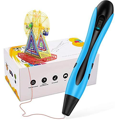 AUZZO HOME 3D Pen, 3D-Druckstift mit 20 Fuß PLA-Filament DIY 3D-Zeichenstift, Geschwindigkeits- und Temperaturregelung, Beste Geburtstagsgeschenke für Kinder und Erwachsene,Schwarz
