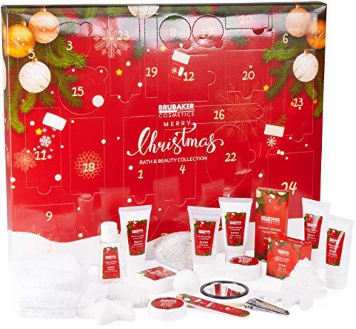 Brubaker Cosmetics Beauty Adventskalender 2020 – 24 x Körperpflege Produkte & Spa Accessoires - der XXL Wellness Weihnachtskalender für Frauen und Mädchen - Rot