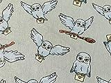 Harry Potter Stoff - Grau Beige Eulen Hedwig Stoff - 100%