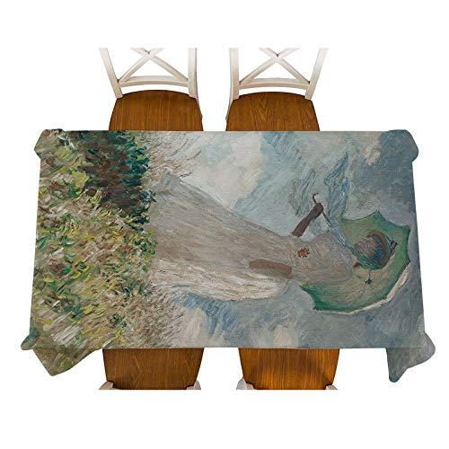 XXDD Monet-Jenny en el jardín Pintura Mantel de Lino Decorativo Impermeable Grueso Rectangular Cubierta de Mesa de Comedor Mantel de té A7 135x135cm