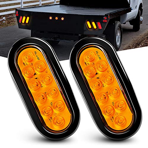 Nilight - TL-08 6' Oval Amber LED Trailer Tail Lights 2PCS 10 LED w/Flush Mount Grommets Plugs IP67 Waterproof Turn Signals Trailer Lights for RV Truck Jeep, 2 Years Warranty