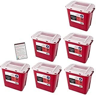 Bulk Sharps Container 2 Gallon - Plus Vakly Biohazard Disposal Guide (6 Pack)