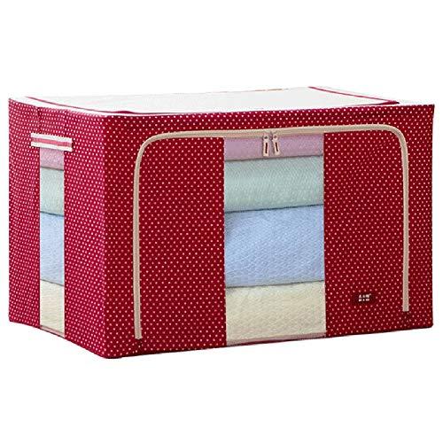 CJK Stapelbare stoffen box met deksel voor kleding - Middelgrote opbergkist met kijkvenster - Kast Organizer voor slaapkamer of de hal