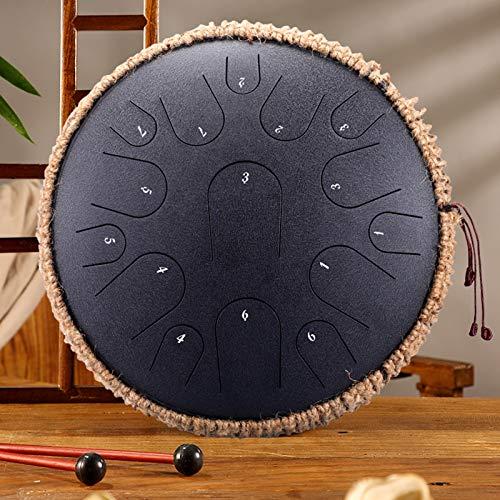 WellingA Zungentrommel Stahl mit 15 Tönen, 35 cm, Gestimmtes Perkussionsinstrument, Handpan-Schlagzeug-Sets,004