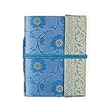 Mini taccuino in sari 8cm x 10,5cm - Blu - in carta riciclata senza righe - Taccuino e diario tascabile - Articolo di cancelleria da regalo per uomo, donna e studenti. Artigianato indiano