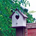 garden mile® Large White Wooden Garden Bird Nesting Box Birdhouse Shabby Chic Loveheart Robin Nester For Small Garden Birds Vintage Decor (White Wooden Bird House) by Garden Mile®
