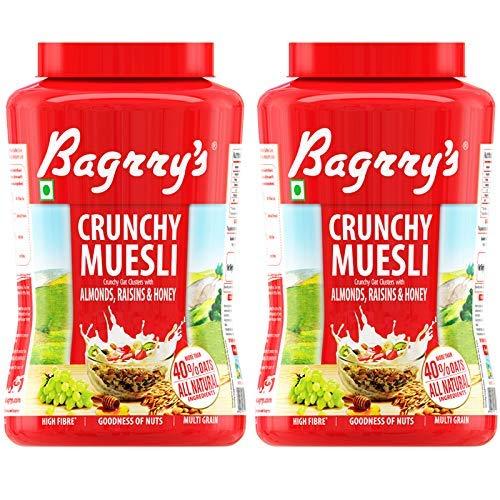 Bagrry's Crunchy Muesli Oat Clusters with Almonds,Raisins & Honey, 1000 GM, Jar, Pack of 2