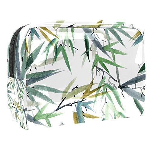 Trousse de maquillage multifonction pour les produits de toilette de voyage - Pour femme - Aquarelle - Feuilles de bambou - Vert blanc
