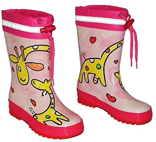 alles-meine.de GmbH Gummistiefel - Giraffe rosa - mit Reflektor + zum Schnüren - Größe 31 - für Kinder / Mädchen - Naturkautschuk + Innenfutter Baumwolle / Handbemalt mit 3-D Eff..