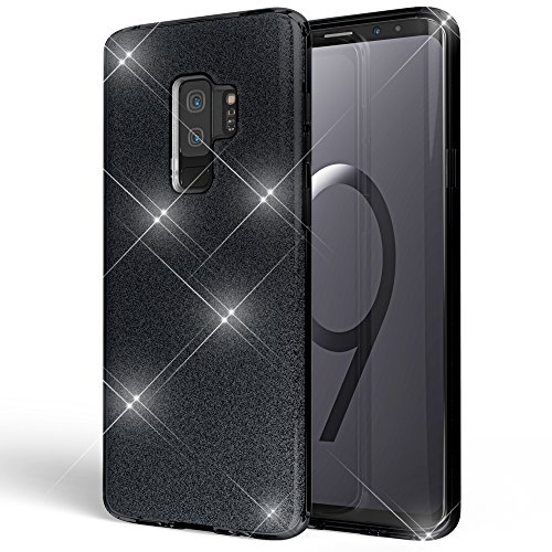 NALIA Handyhülle kompatibel mit Samsung Galaxy S9 Plus, Glitzer Ultra-Slim Silikon-Hülle Back-Cover Schutz, Glitter Sparkle Handy-Tasche Bumper, Dünnes Bling Strass Phone Etui, Farbe:Schwarz