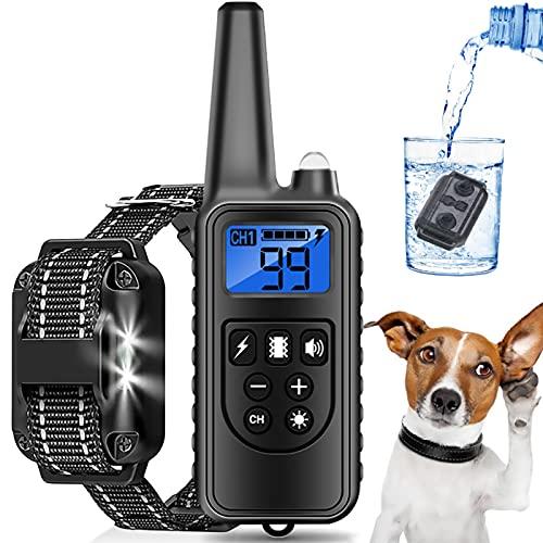 Anti-Barking-Gerät Tragbarer Antibell Halsband Hund USB Wiederaufladbares 800m Reichweite 3 Arbeitsmodi Bark Control Sicheres Hundehalsband,Schwarz