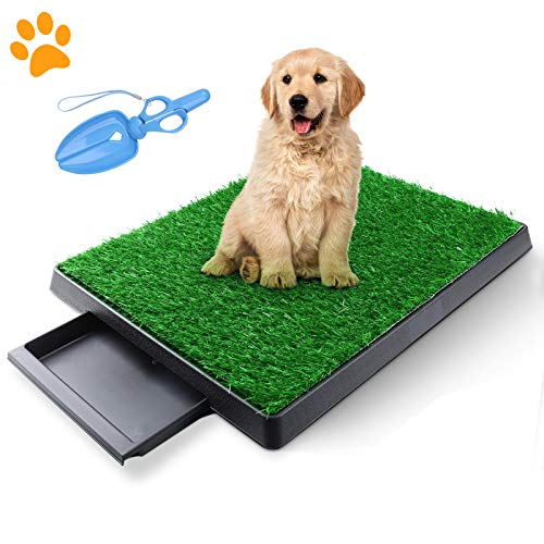 TSIANHUZY Dog Grass Pad with Tray, Artificial Turf Dog Grass Pee Pad Potty Training for Indoor Outdoor Use, Washable Replacement Potty Mat for Puppy and Small Pet - with a Pet Poop Pick-up Tool