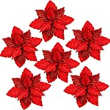 FUNARTY 10-Inch Glitter Poinsettia Christmas Tree Ornaments Artificial Christmas Flowers for Christmas Tree Wreaths Garland Holiday Decorations, 8 Pack (Red)