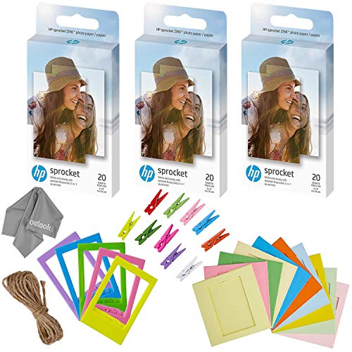 HP Sprocket 2x3' Premium Zink Sticky Back Photo Paper (3 Twin Packs, 60 Total) + 5 Plastic Desk Frames + 10 Paper Frames + Micro-Fiber Cleaning Cloth