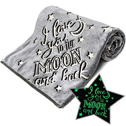 """I Love You to The Moon and Back Glow in The Dark Blanket Super Soft Fleece Christmas Love Gifts Grey Blanket Best Friend Unique Gifts for Women Boys Girls Kids Teens 50"""" x 60"""" (Grey)"""