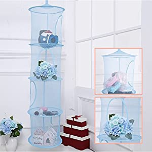 Pomeat Hanging Mesh Space Saver Bags Organizer 4 Compartments, Mesh Hanging Storage Organizer Toy Storage Space Saver Bags for Kid Room, Blue