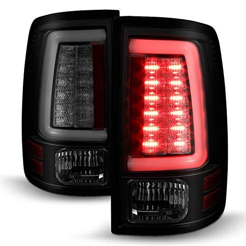 AVENN 2013-2018 RAM Black Smoked LED Tail Lights w/Fiber-Optic-Light Tube, Signal Pair Left+Right 2014 2015 2016 2017