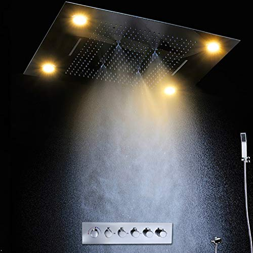 Best Review Of Cascada Luxury 23x31 Rectangle Ceiling Mounted 4 Function LED Rain Shower System (R...