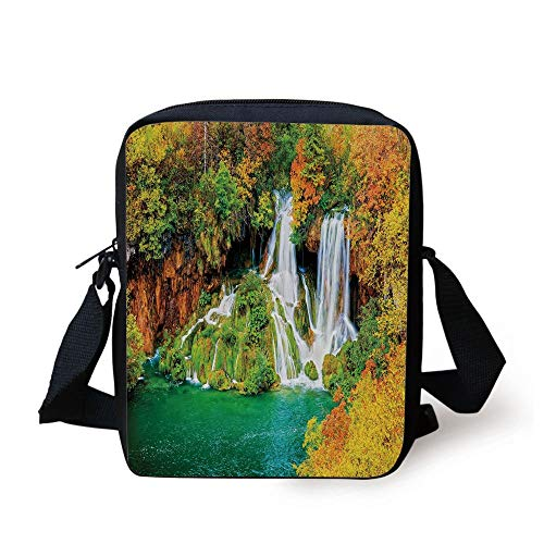 FAFANIQ Nature,Waterfall Flowing down Rocks between Faded Autumn Trees Landscape,Jade Green Marigold Cinnamon Print Kids Crossbody Messenger Bag Purse