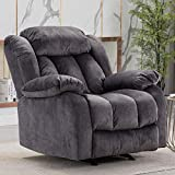 CANMOV Rocker Recliner Chair Manual Heavy Duty Reclining Chair with Contemporary Arms and Back, Fabric Single Sofa for Living Room, Navy