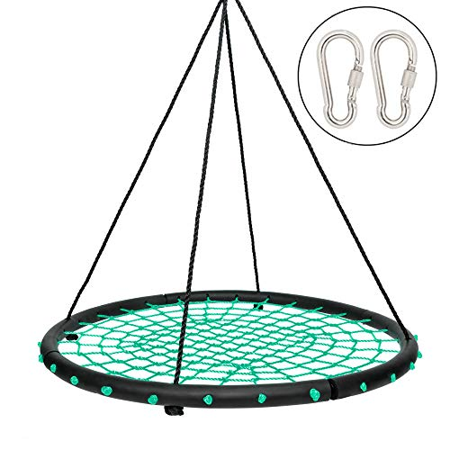 JOYMOR 40 Inch Over 600 lbs Net Spider Web Round Rope Swing with Adjustable 6ft Hanging Ropes, 2 Carabiners Great for Swing Set, Backyard, Playground, Playroom (Green)