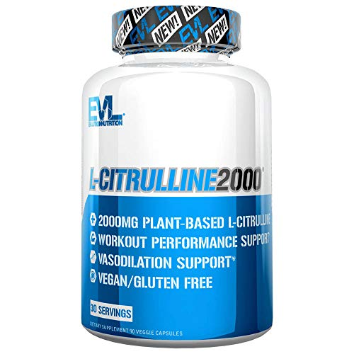 Evlution Nutrition L-Citrulline2000, 2000mg of Pure L-Citrulline in Each Serving, Veggie Capsules (30 Servings)