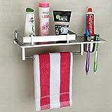 Plantex Stainless Steel 3 in 1 Multipurpose Bathroom Shelf/Rack/Towel Hanger/Tumbler Holder/Bathroom Accessories