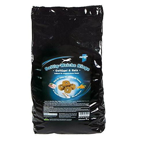 Schecker 4 kg weiche Ringe - Trockenfutter mit Geflügel und Reis - saftig - halbfeucht - schmackhaft- für den kleine bis mittleren Hund