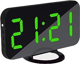 TECHVIDA digital alarm clock 2-in-1 digital mirror clock with USB port adjustable brightness meter clock for home office h...