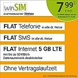 Handyvertrag winSIM LTE All 5 GB - ohne Vertragslaufzeit (FLAT Internet 5 GB LTE mit max. 50 MBit/s mit deaktivierbarer Datenautomatik, FLAT Telefonie, FLAT SMS und EU-Ausland 7,99 Euro/Monat)