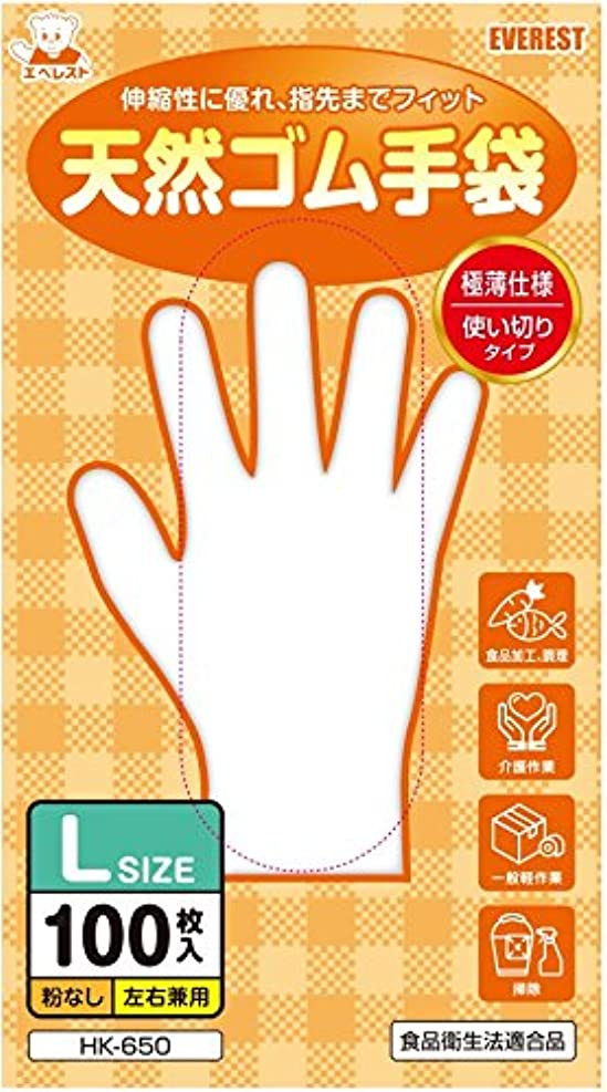送信する操作コントローラ天然ゴム手袋 100枚入 Lサイズ