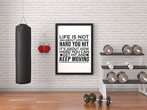 Life is not About How Hard You hit | Rocky Balboa | Inspiring Quote of Life | Fitness Motivational Decor | Quotes Wall Art | A3-16.5'x11.7' Unframed Wall Decor