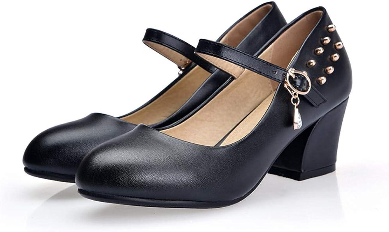 MENGLTX High Heels Sandalen Neue Heie Frühlingsommer Pumpt Frauenschuhe Runde Zeh Mit Der Flachen Ferse Der Weiblichen Ferse Der Hohen Abstze Der Schnalle