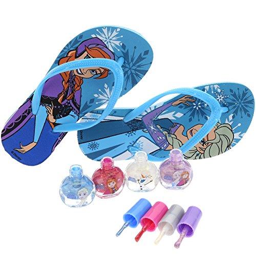 Disney Frozen Baby Spa Set, Kids Washable Polish, Nail Buffer, Nail File, Sandals Size (10-11)and Toe Separators, 10 CT