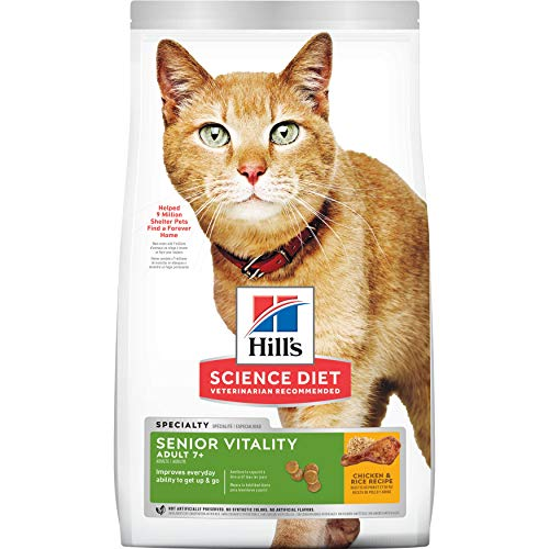 Hill's Science Diet Adult 7+ Senior Vitality Dry Cat Food, 13 lb bag