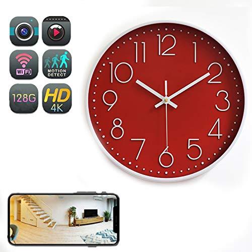 GEQWE Cámara De Reloj WiFi, Cámara De Reloj Inalámbrica Inteligente 4K HD, con Visión Nocturna, Detección De Movimiento, Transmisión Remota De Aplicaciones En Línea para El Hogar, La Oficina